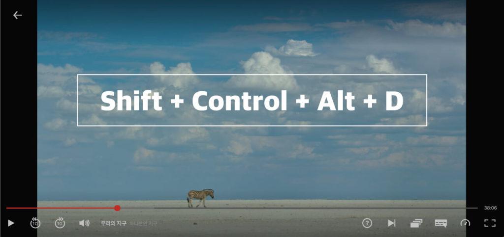 넷플릭스 해상도 확인하기 SHIFT CONTROL ALT D