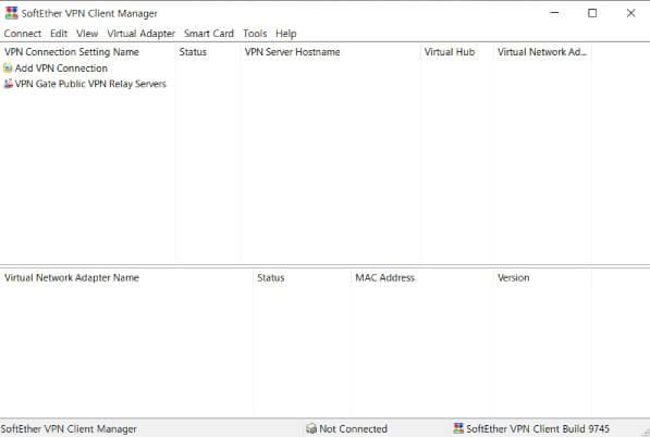 SoftEther VPN Client Manager가 자동으로 실행된 것을 확인할 수 있습니다