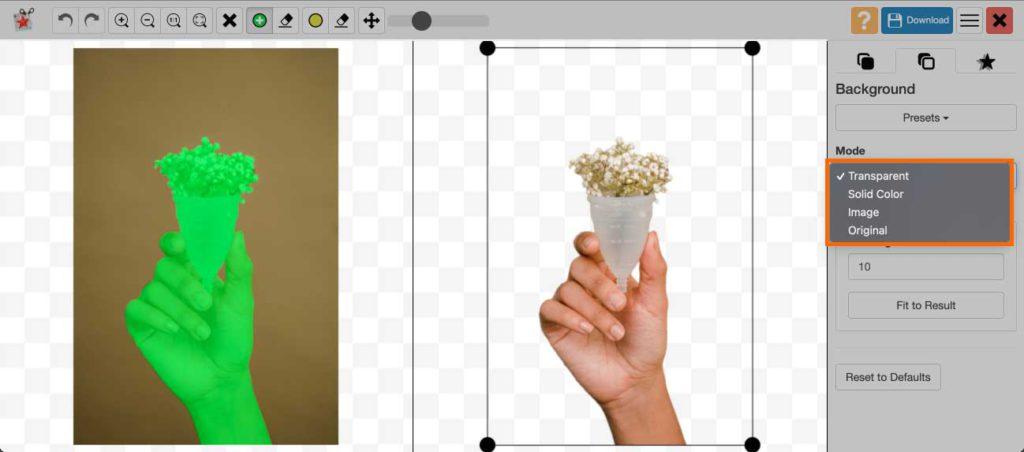 photoscissors 모드 변경하기 solid color image original